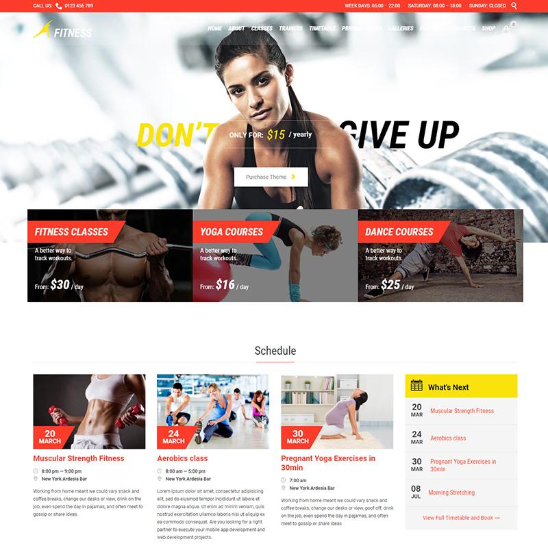 Gym - Tema WordPress para actividades deportivas