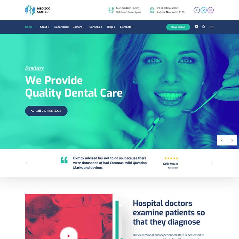 Medizco - Tema WordPress premium para clínicas dentales
