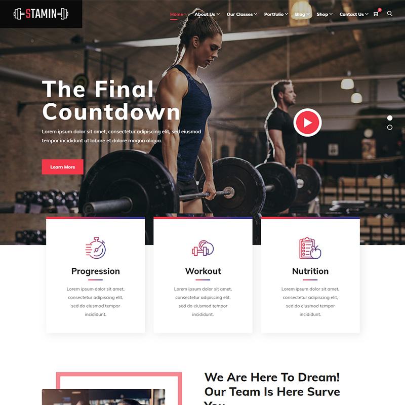 Stamin - Plantilla WordPress para centros deportivos