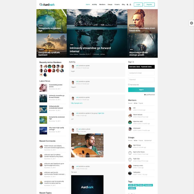 AardVark | Tema de WordPress para BuddyPress
