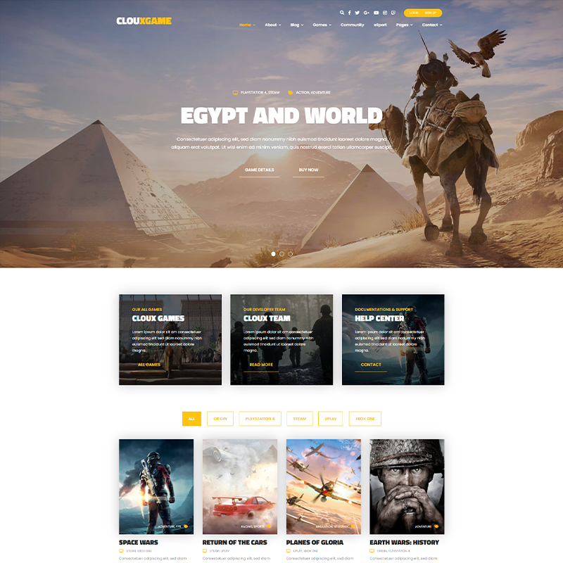 Theme WordPress Gaming - Cloux