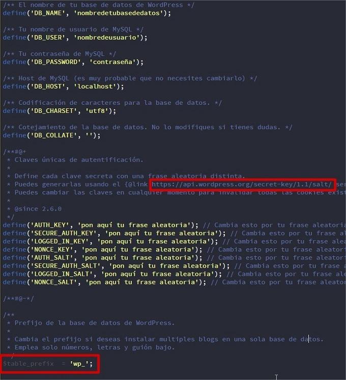 configurar instalación wordpress