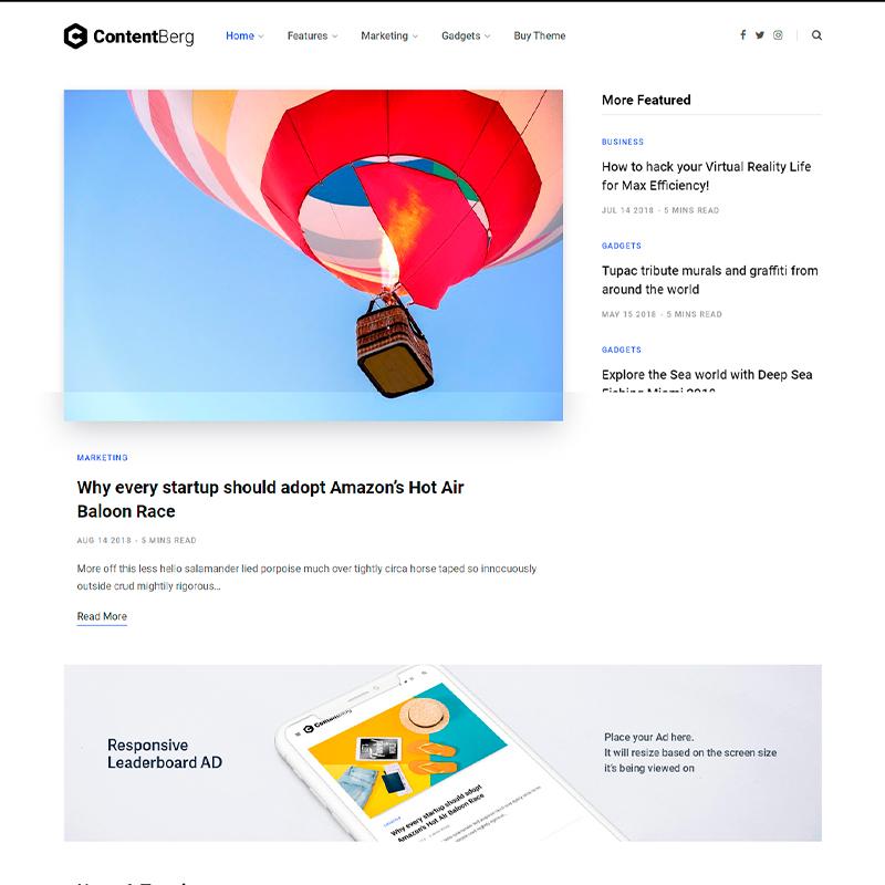 plantilla para escritores WordPress Contentberg