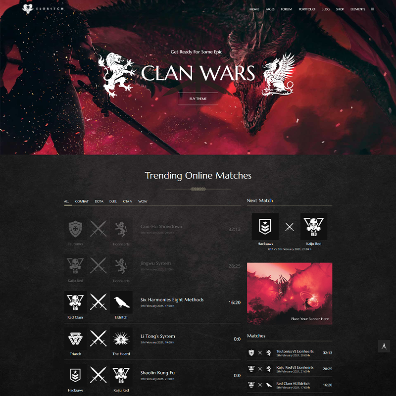 WordPress Tema Eldritch Gaming