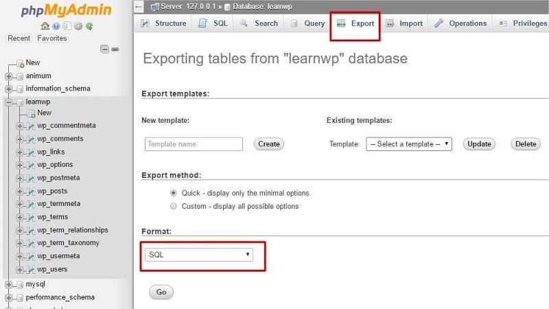 exportar base de datos sql