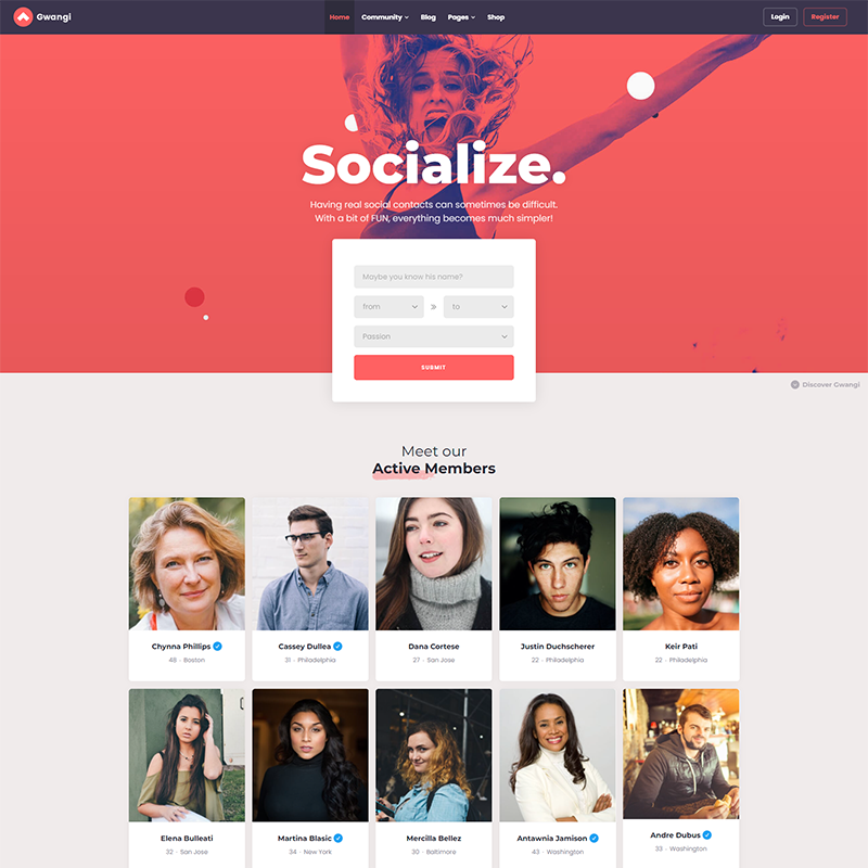 Gwangi | Plantilla WordPress BuddyPress