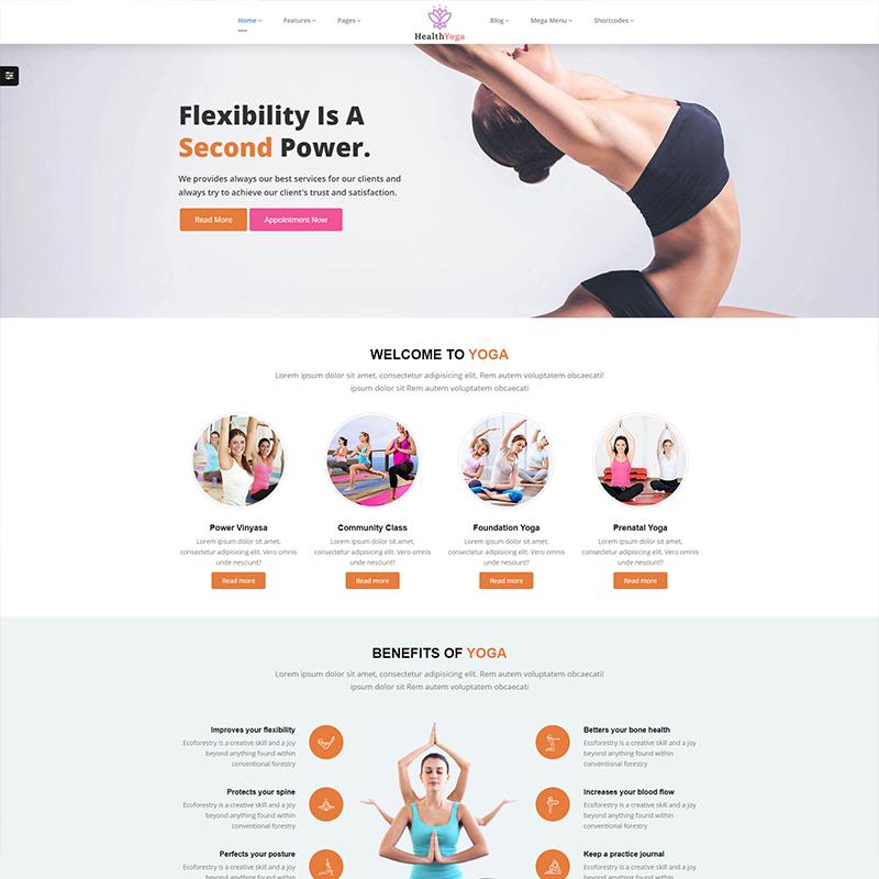 Plantilla WordPress Health Yoga