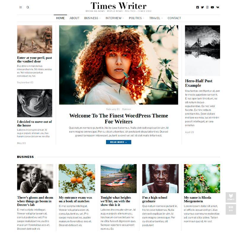 tema WordPress The Fox para escritores y copywriters