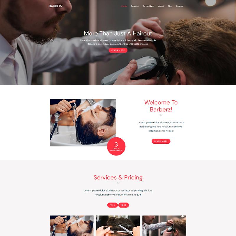 Plantilla página web Barberz para peluquerías