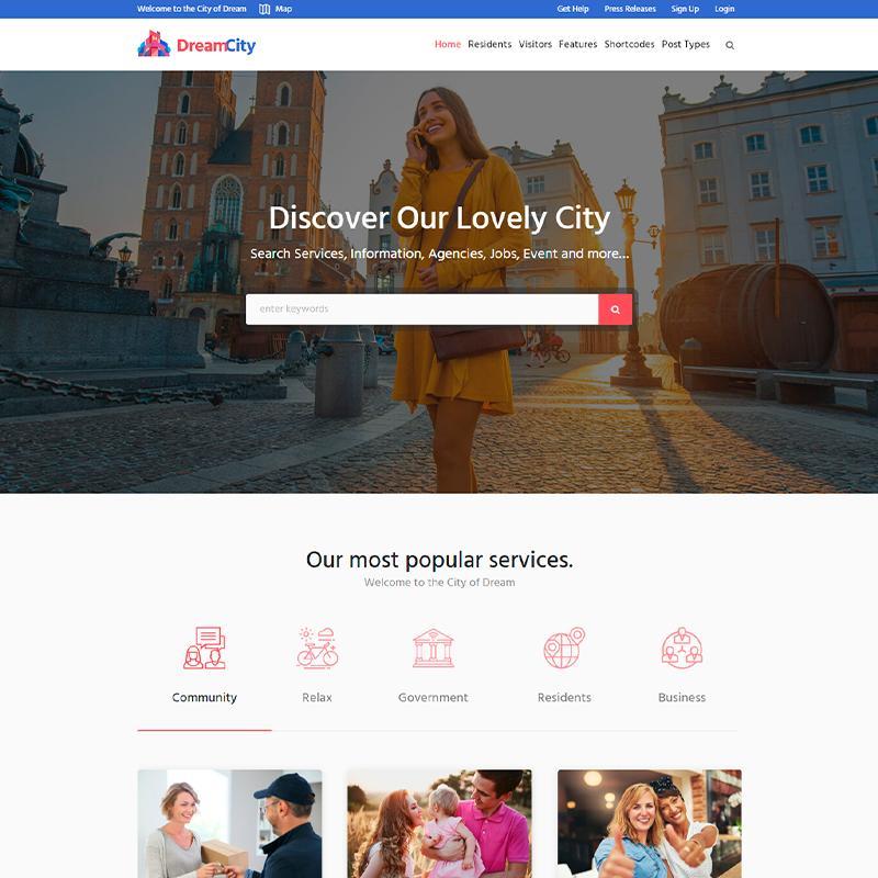 plantilla para Ayuntamientos WordPress Dream City