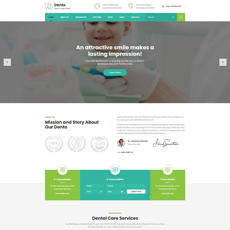 Dento - Tema WordPress para clínicas Dentales