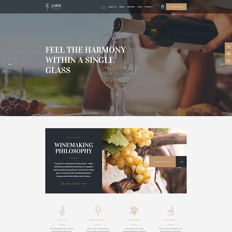 plantilla para productores de vino WordPress