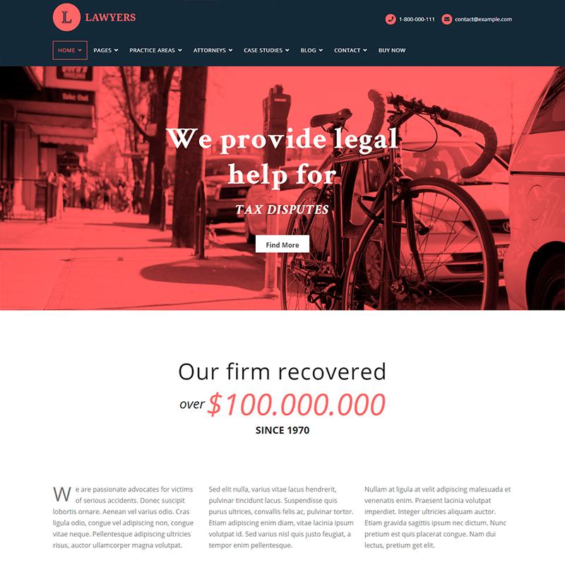 Lawyers - Tema WordPress para bufetes de abogados y consultores legales
