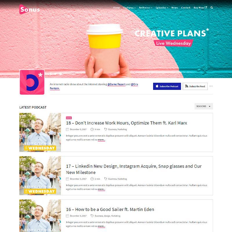 plantilla WordPress Sonus para páginas webs de Podcasts