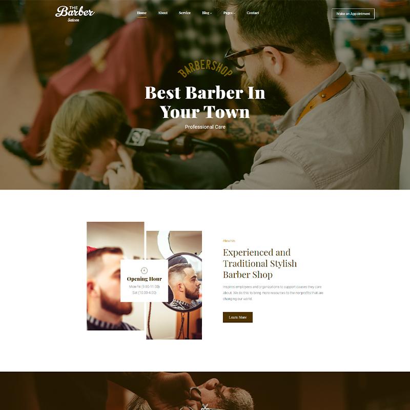 tema WordPress para barberías y peluquerías The Barber