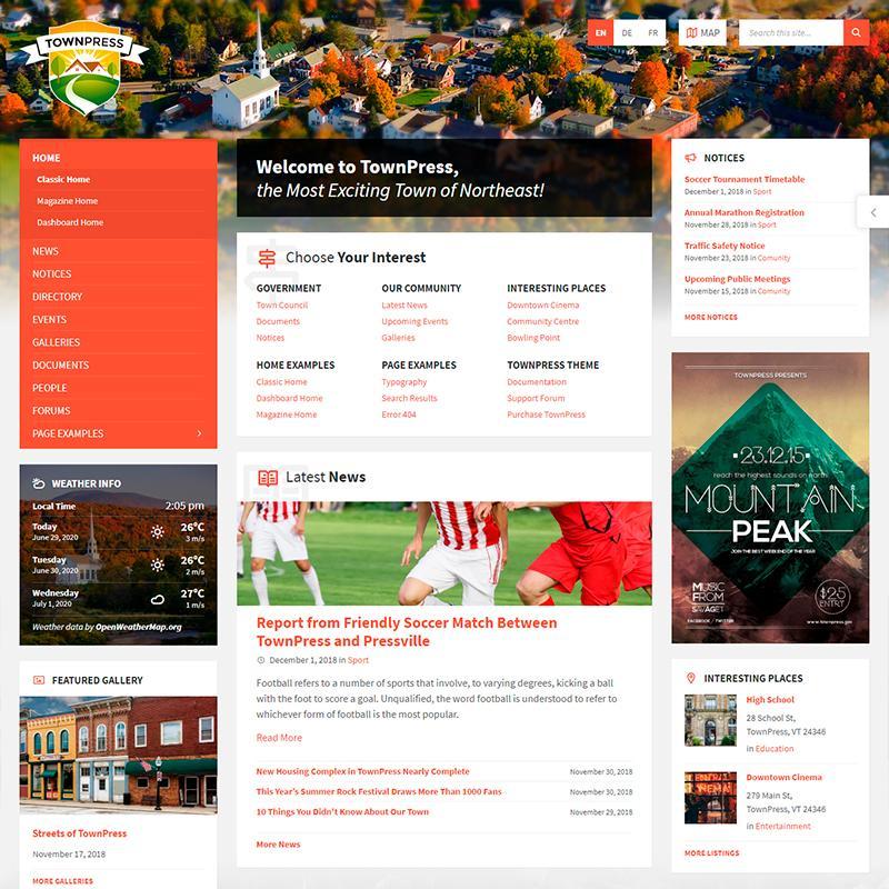 tema WordPress para ayuntamientos TownPress
