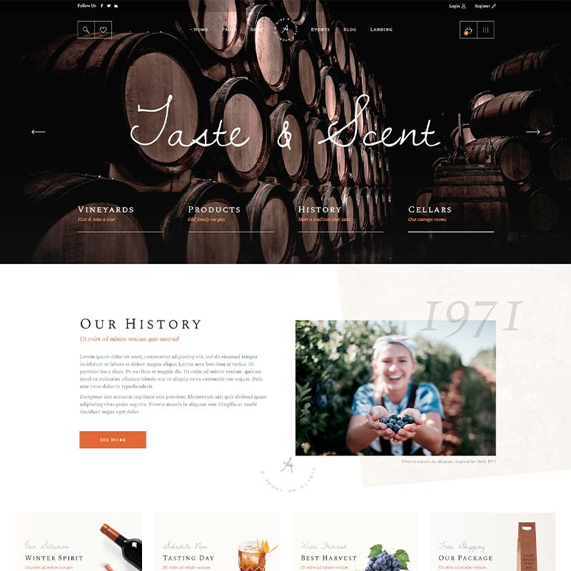 tema wordpress para tiendas de vino online