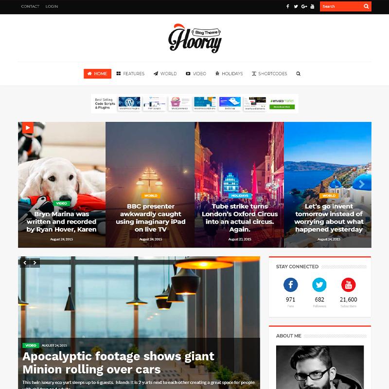 plantilla para bloggers WordPress Hooray