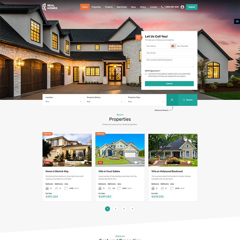 RealHomes Plantilla WordPress de Inmobiliarias
