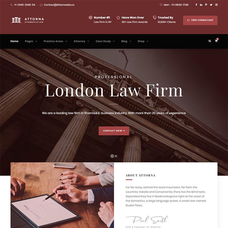 Attorna - Tema WordPress para asesorías jurídicas