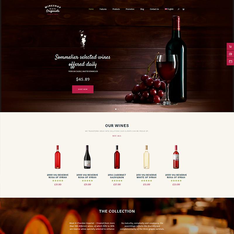 plantilla wordpress para vinos y alimentos