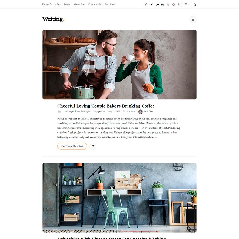plantilla para WordPress de escritores Writting