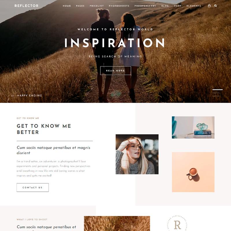 Tema Reflector para fotógrafos y diseñadores creativos (WordPress)