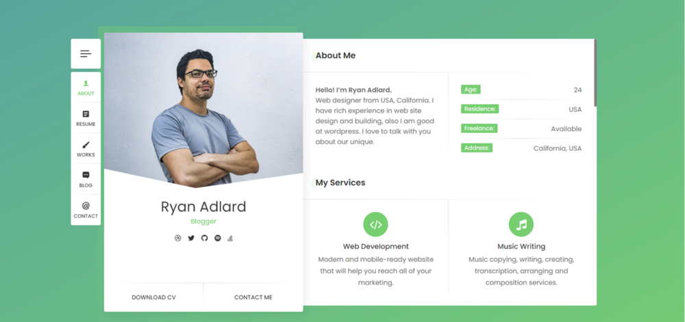 Plantilla RyanCV para Curriculums en WordPress