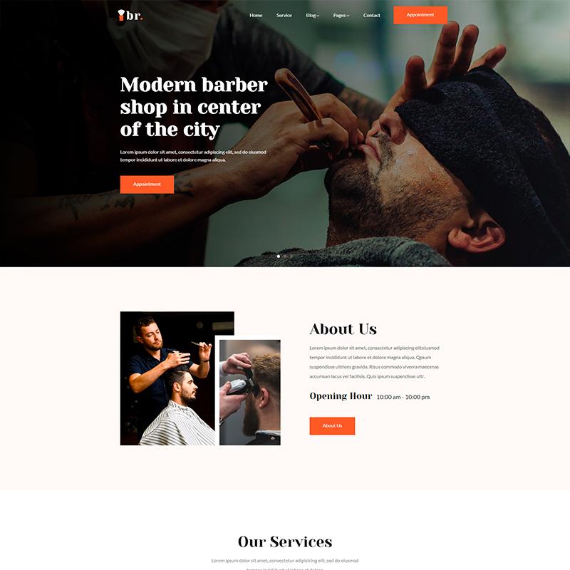 plantilla WordPress Br. para sitios web de peluquerias