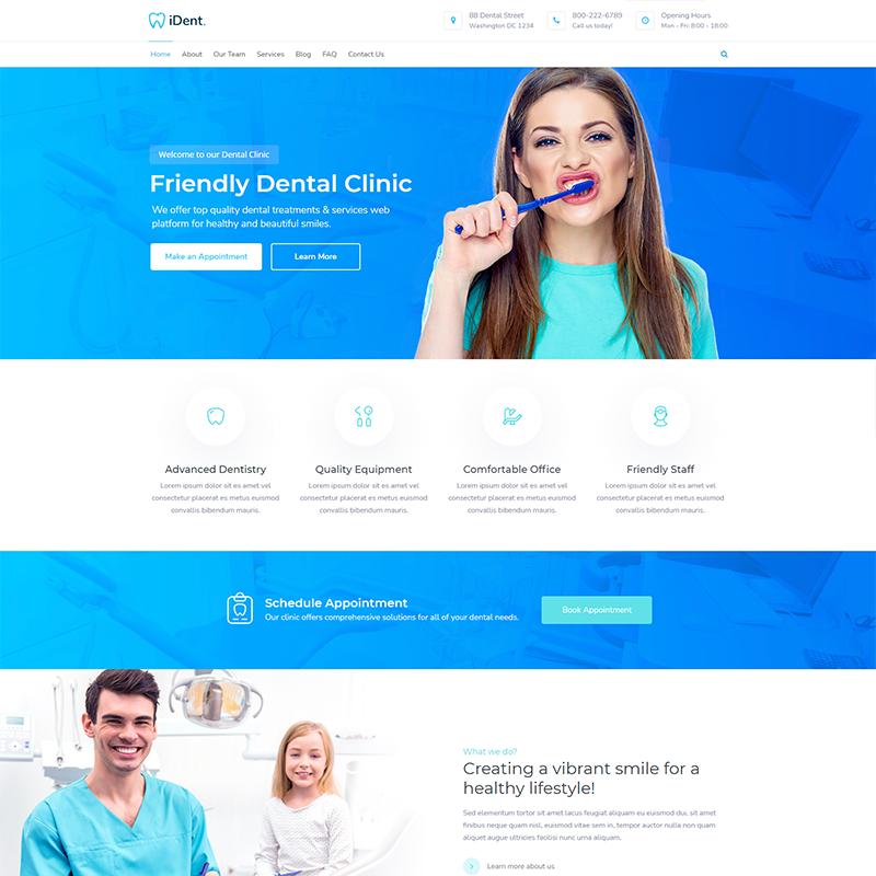 iDent - Plantilla WordPress para clínicas de dentistas