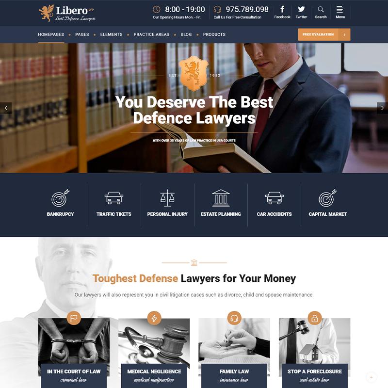 Libero - Tema WordPress para asesorías legales y asesorías legales.