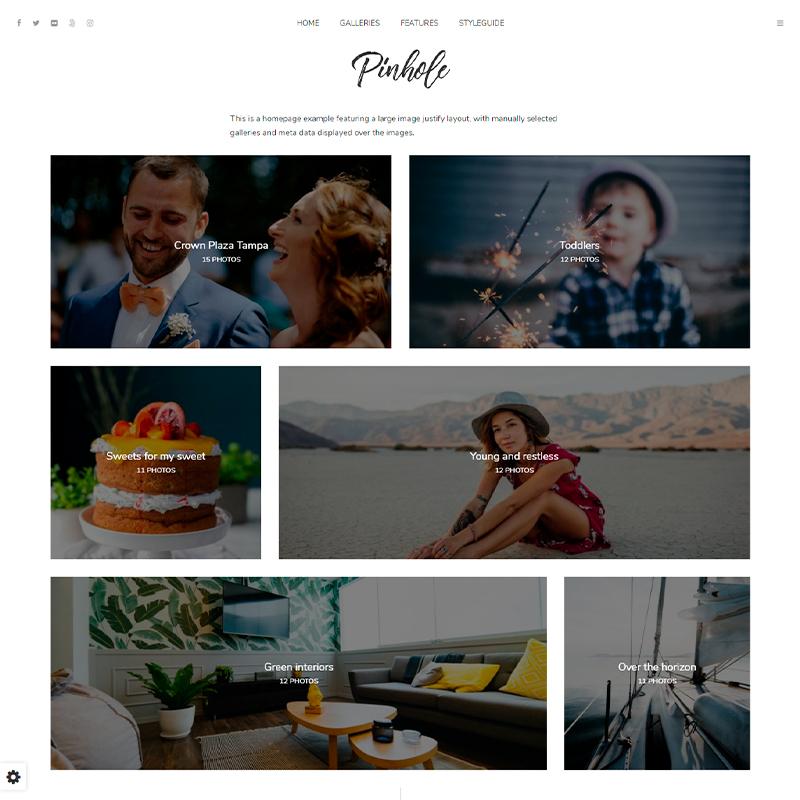 plantilla WordPress Pinhole para fotógrafos