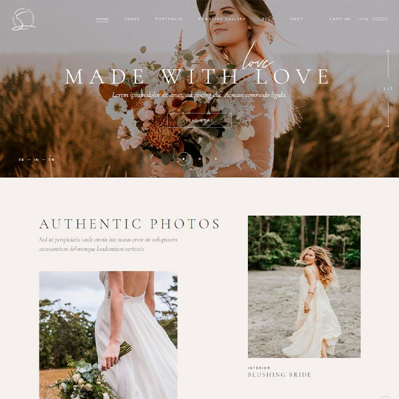 Solene - Plantilla WordPress para fotógrafos de bodas