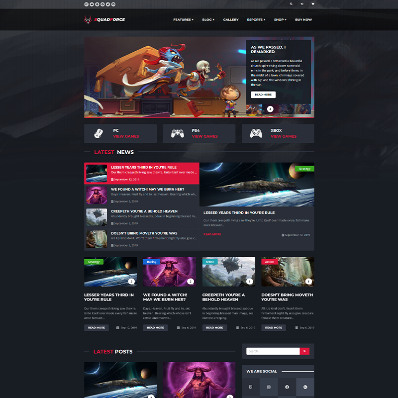 SquadForce - Tema Gaming WordPress