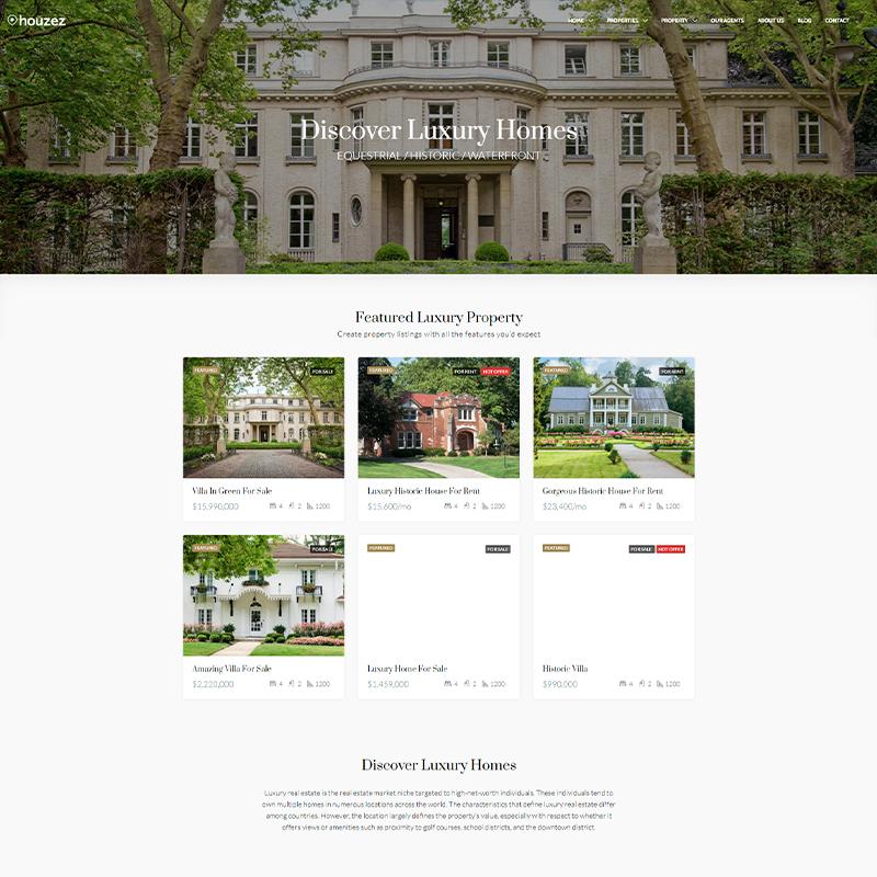 Plantilla WordPress para Inmobiliarias de Lujo - Houzez
