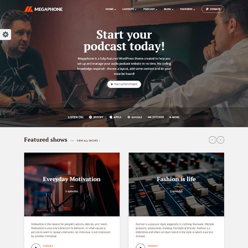 plantilla de podcasts para WordPress MegaPhone