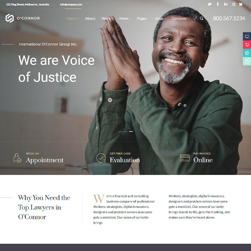 O'Connor - plantilla WordPress de asesorías jurídicas y abogados