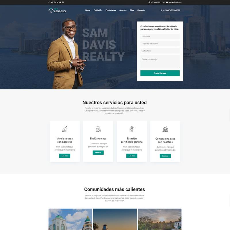 Residence Plantilla WordPress para Agentes Inmobiliarios