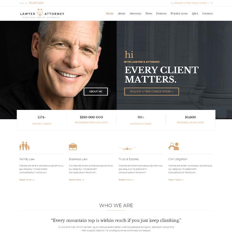 Lawyer & Attorney - Tema WordPress para Abogados