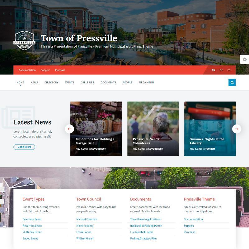 plantilla WordPress para pedanías y ayuntamientos Pressville