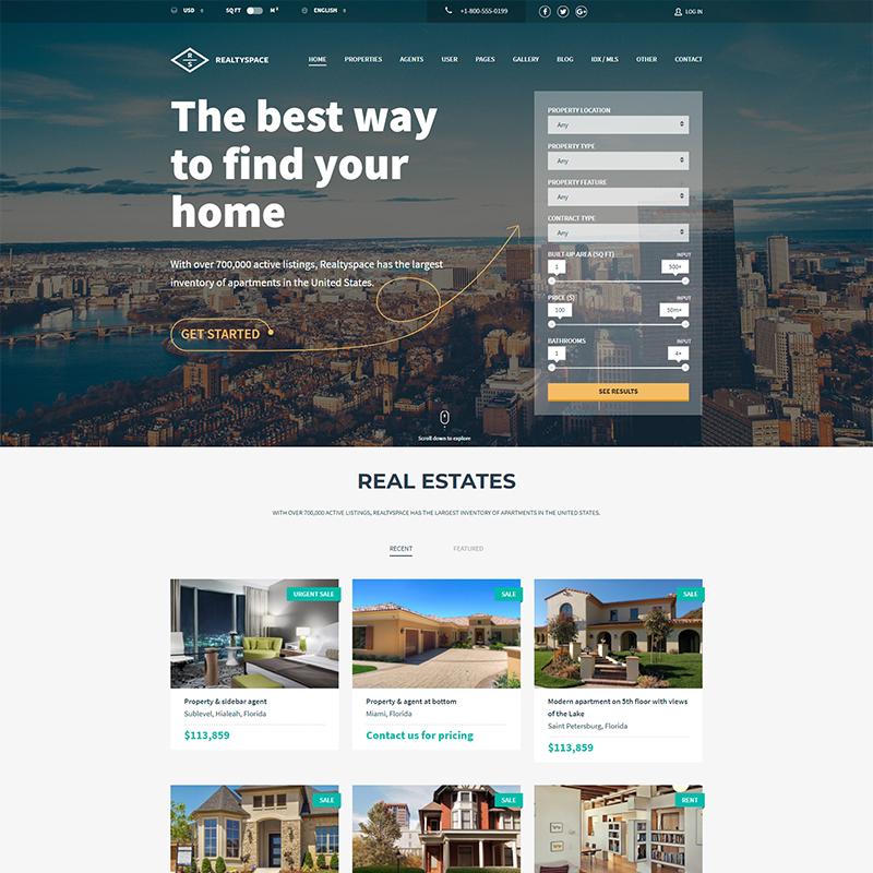 Plantilla Sector Inmobiliario WordPress - Realtyspace