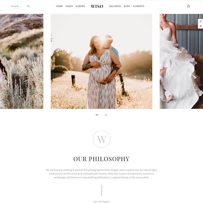 Wiso, tema WordPress para fotógrafos de eventos y bodas