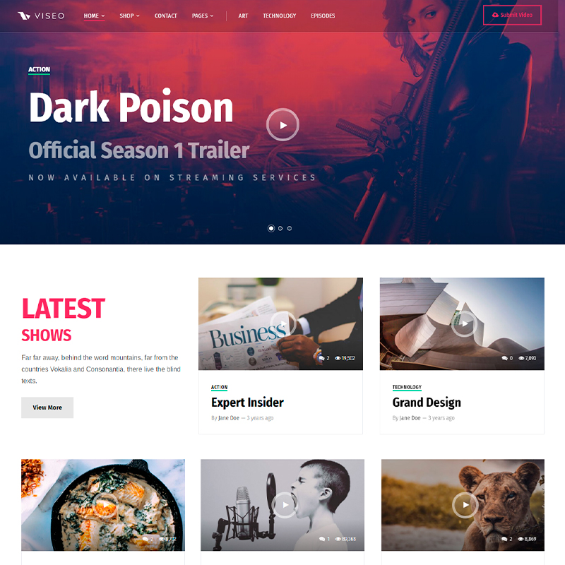 tema WordPress para subir episodios y vídeos Viseo
