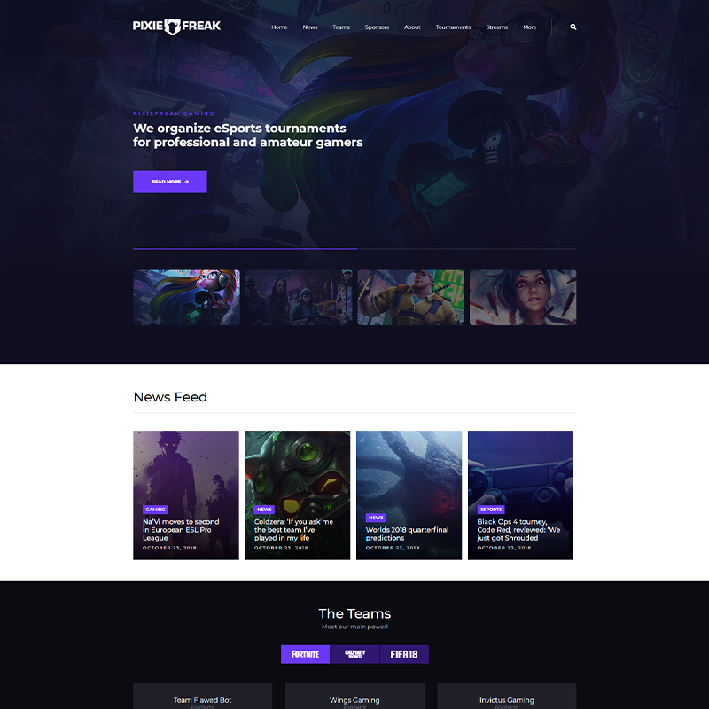 Gaming Tema WordPress - PixieFreak